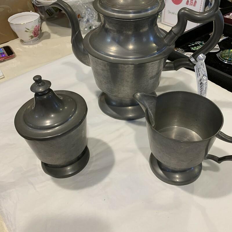 Woodbury Pewter Tea Set, Pewter, Size: Medium