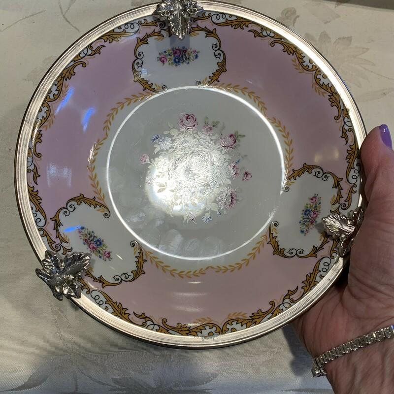 HP Bowl W/Silver Decorati
