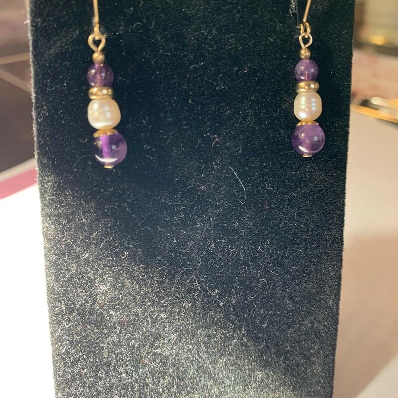 14kt Pearl/Ameth Earrings
