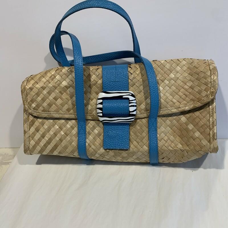 A. Vittadini Straw/Leathe, Tan/blue, Size: Med