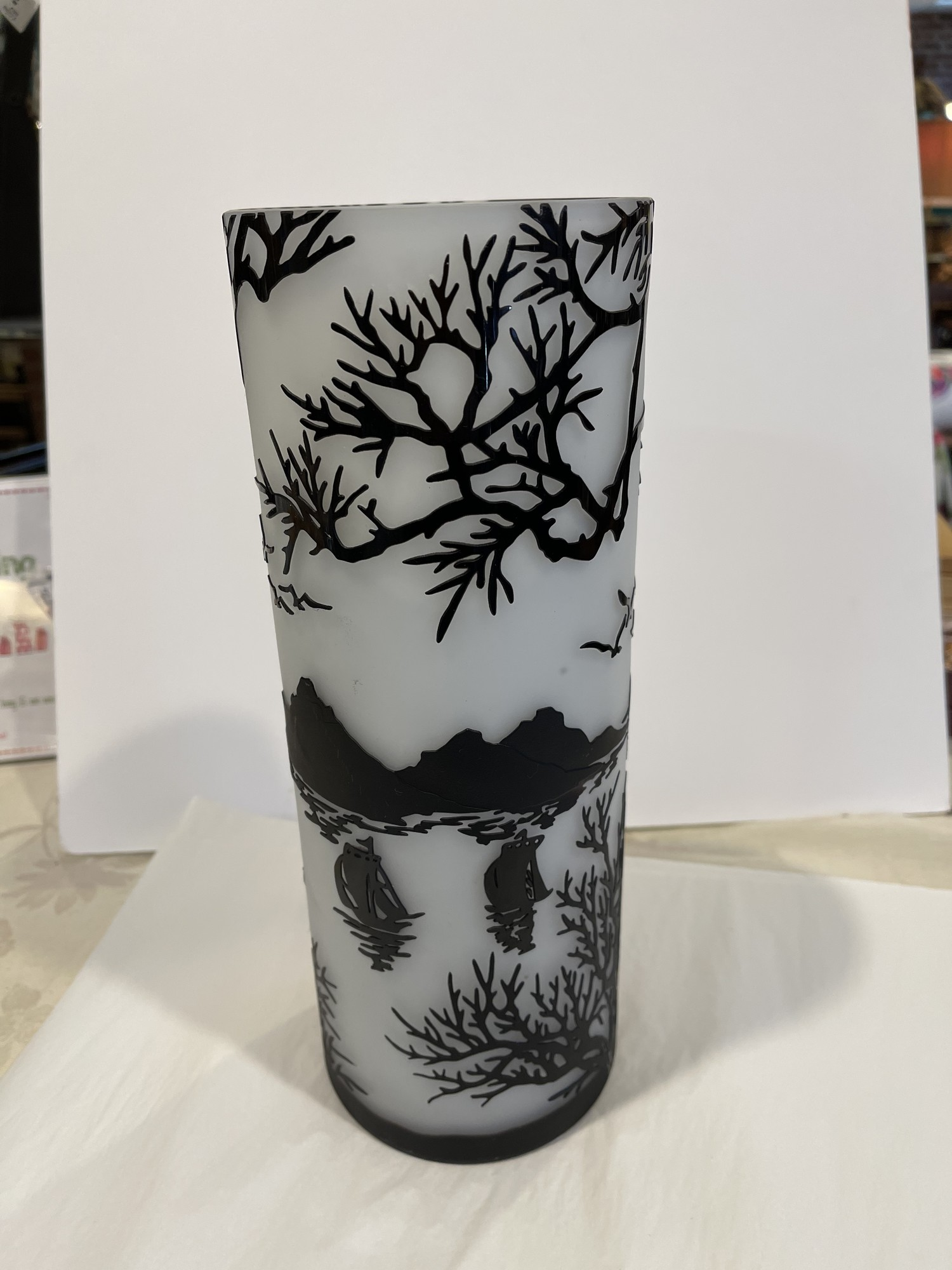 """Cameo Glass Etched Vase, White, Size: 12\"""""""
