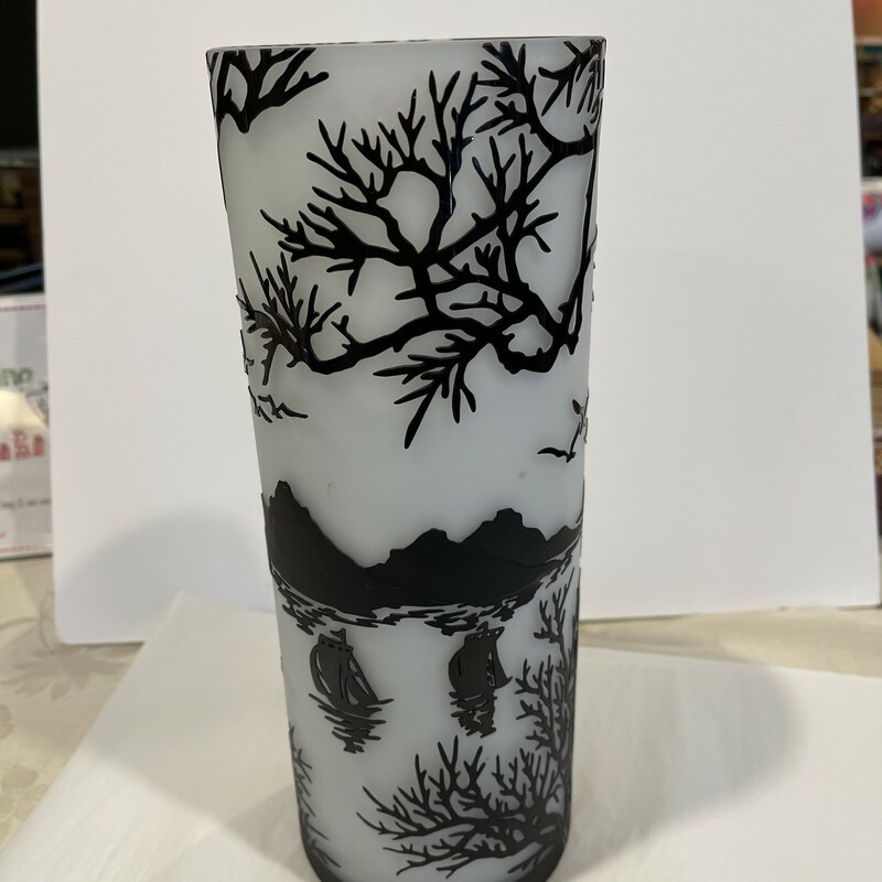 Cameo Glass Etched Vase