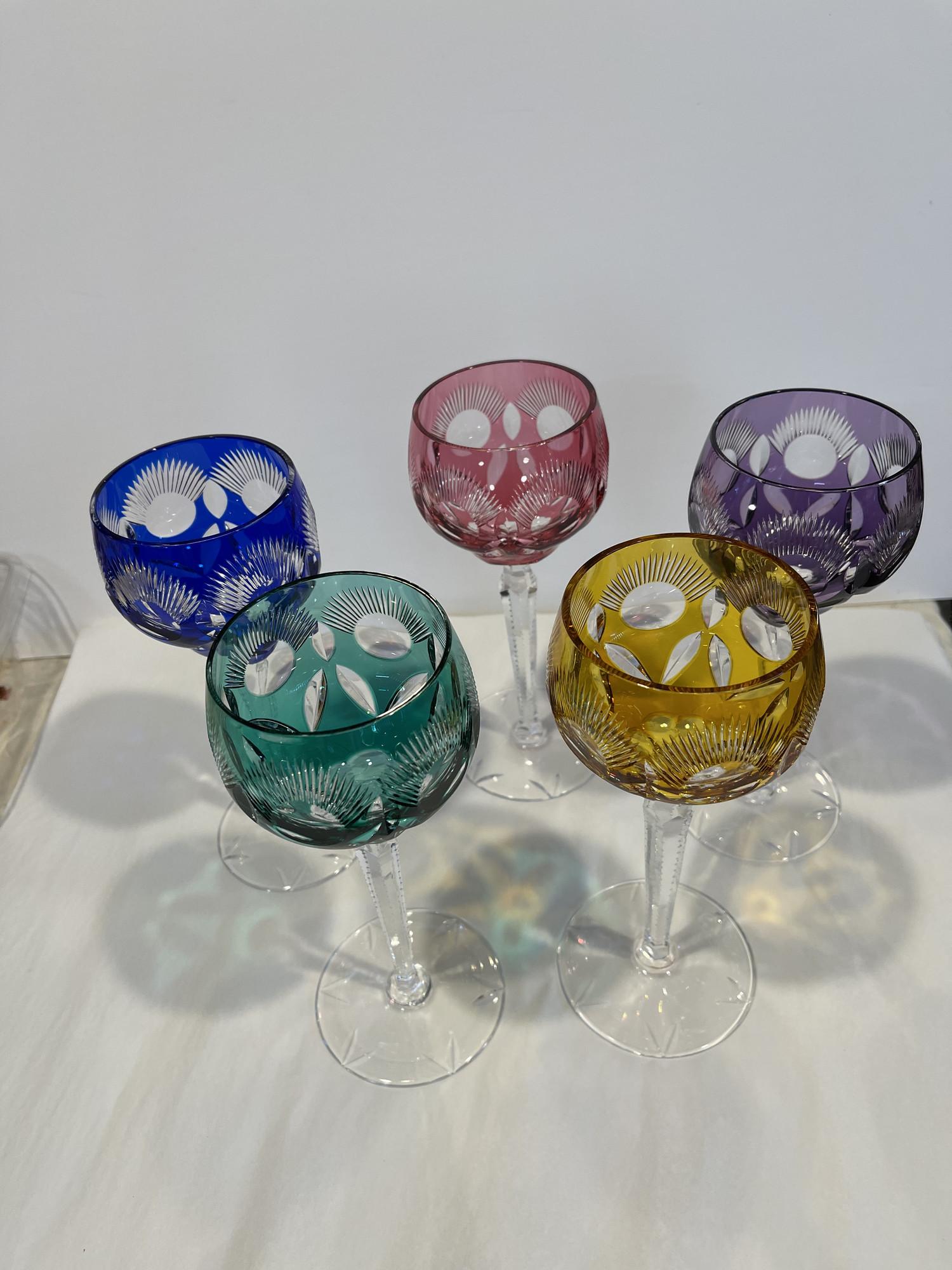 5 Lead Crystal Goblets, Multi, Size: Med