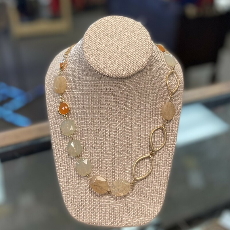 Gld/org Clear Bead Neck