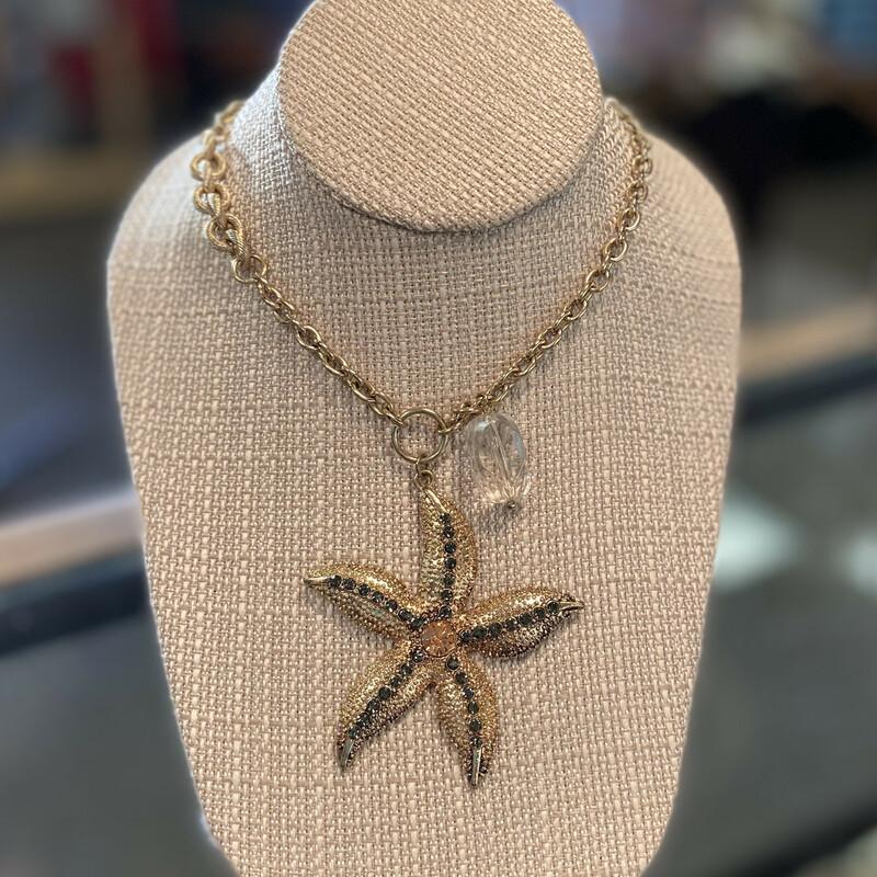 Long Gld Starfish Necklac