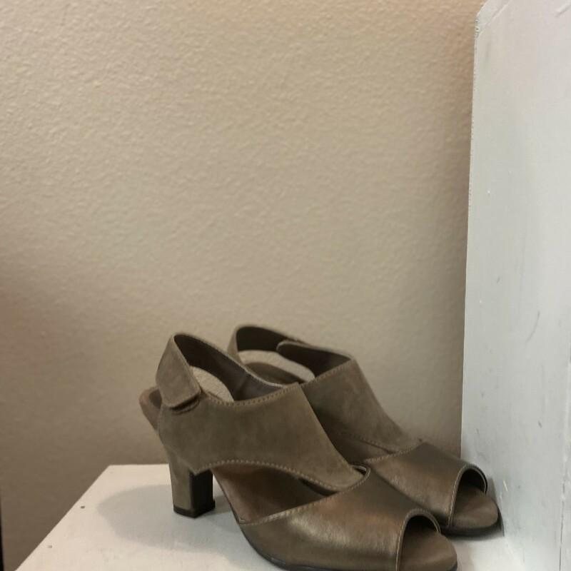 Bronze Leather Suede Heel