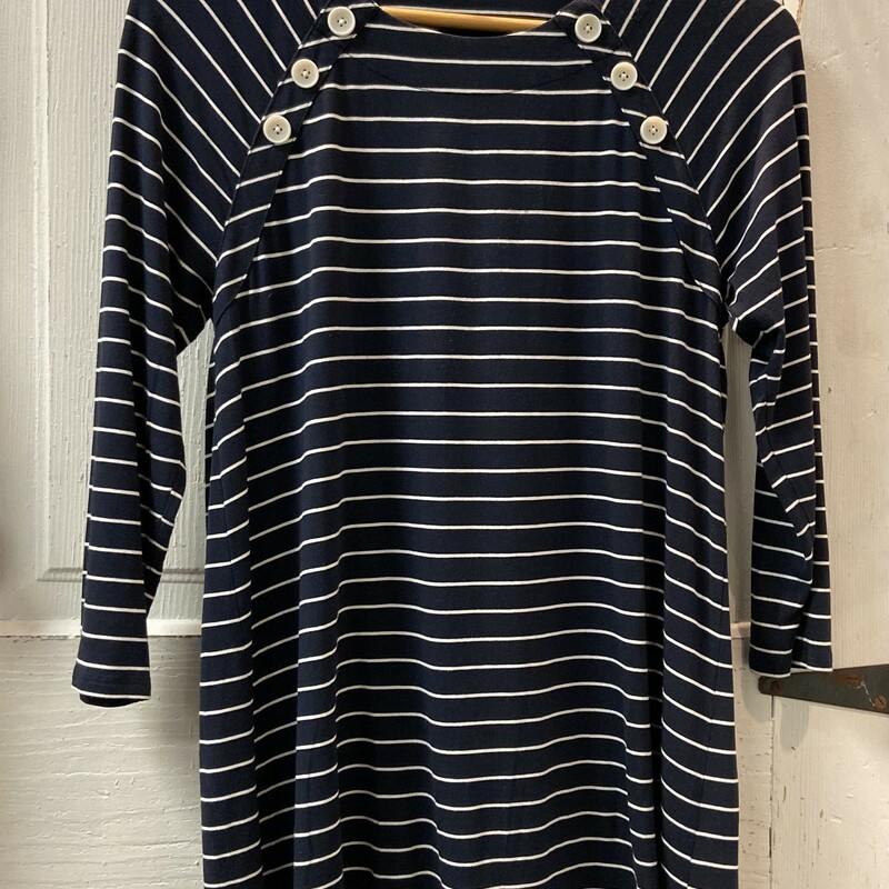 Nvy Stripe Button Top