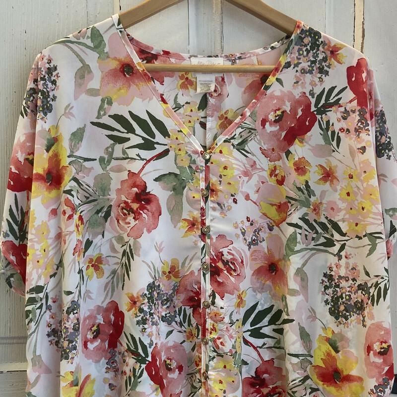 Peach Floral Tie Top