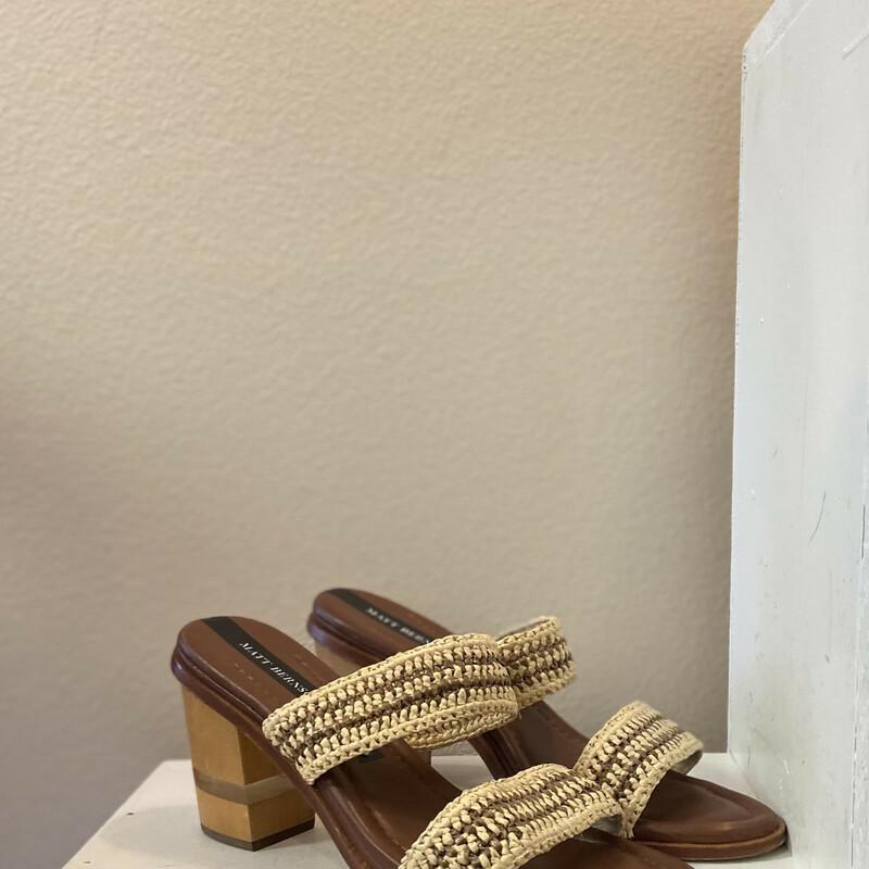 Raffia Leather Wood Sanda
