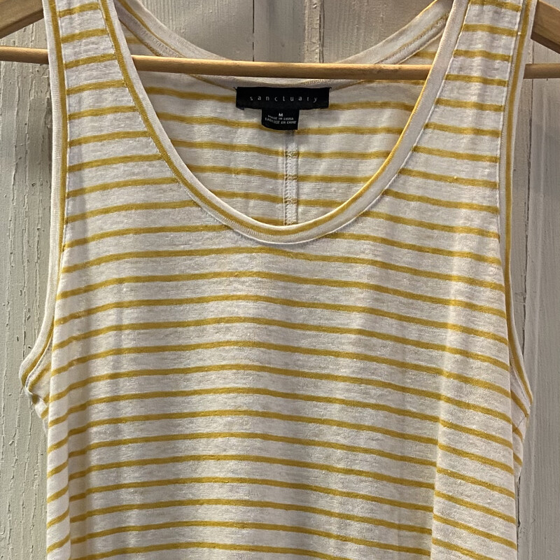 Wht/yllw Stripe Linen Tnk