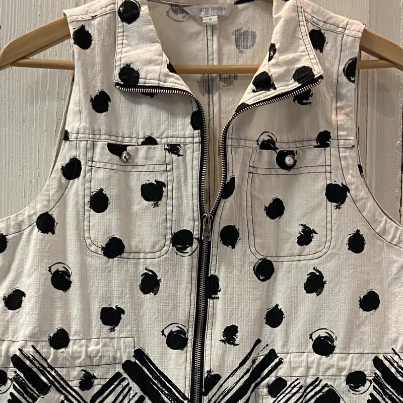 Wht/blk Pattern Zip Vest