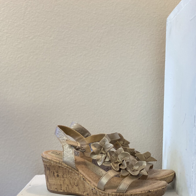 Gld Lther Wedge Sandal