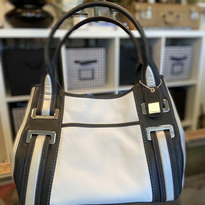 Blk/wht/slv Leather Purse