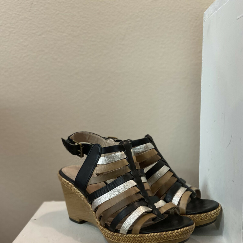 Blk/tan/slv Leather Wedge