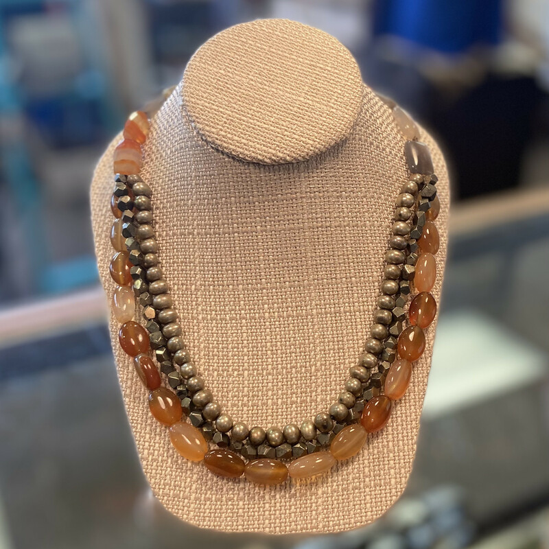 Lther Gry/org Bead Neckla