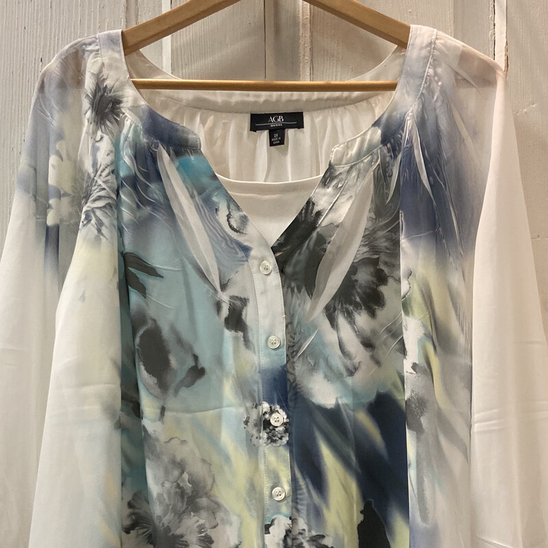 Whit Floral Flowy Top