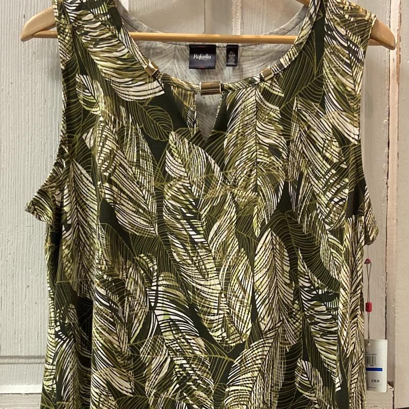 NWT Grn/crm Palm Dress