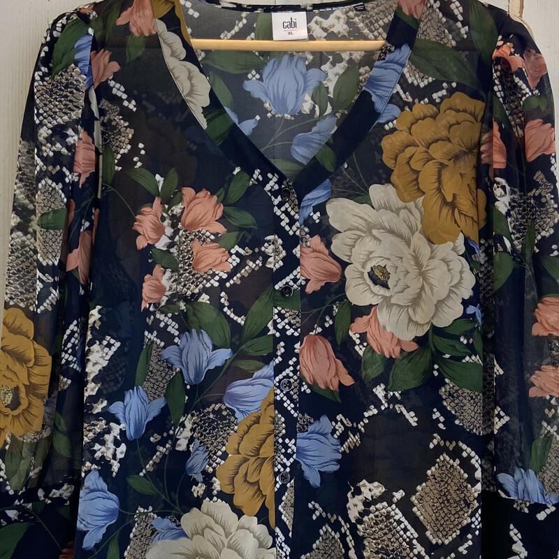 Nvy/pnk/ Floral Sheer Top, Nvy/pnk, Size: XL
