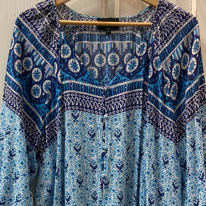 Blu/Teal Pattern Boho Top