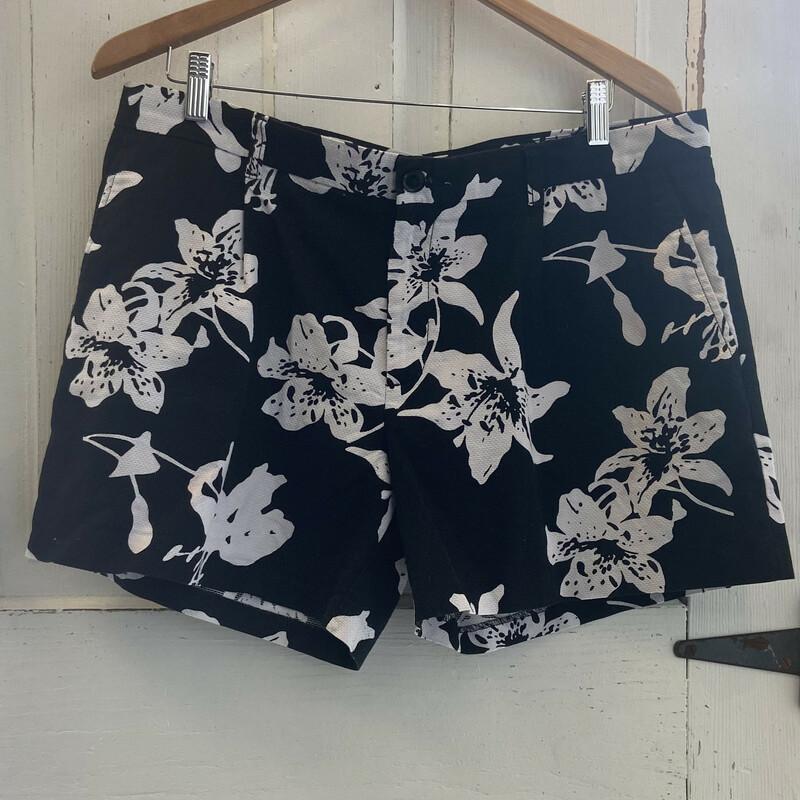 Blk/wht Floral Shorts