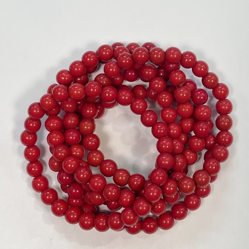 6 Red Bead Bracelets