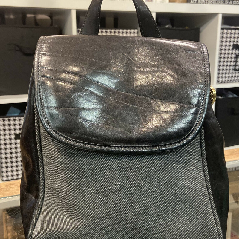Blk Leather Backpack