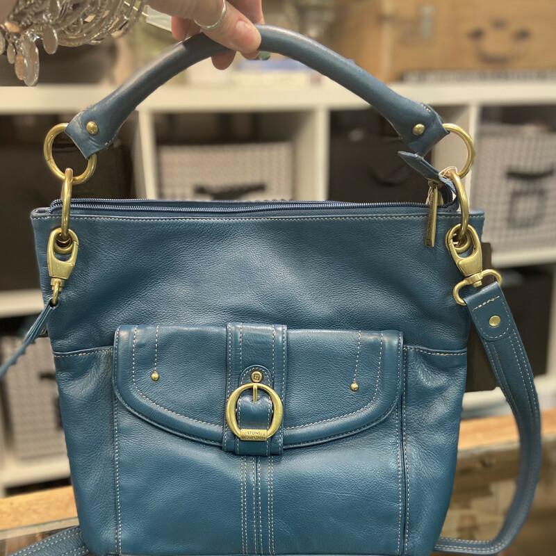 NWT Blue Leather Crossbod