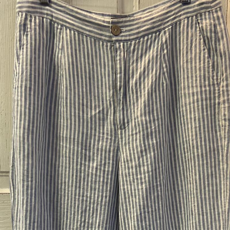 Blu/wht Stripe Linen Pant