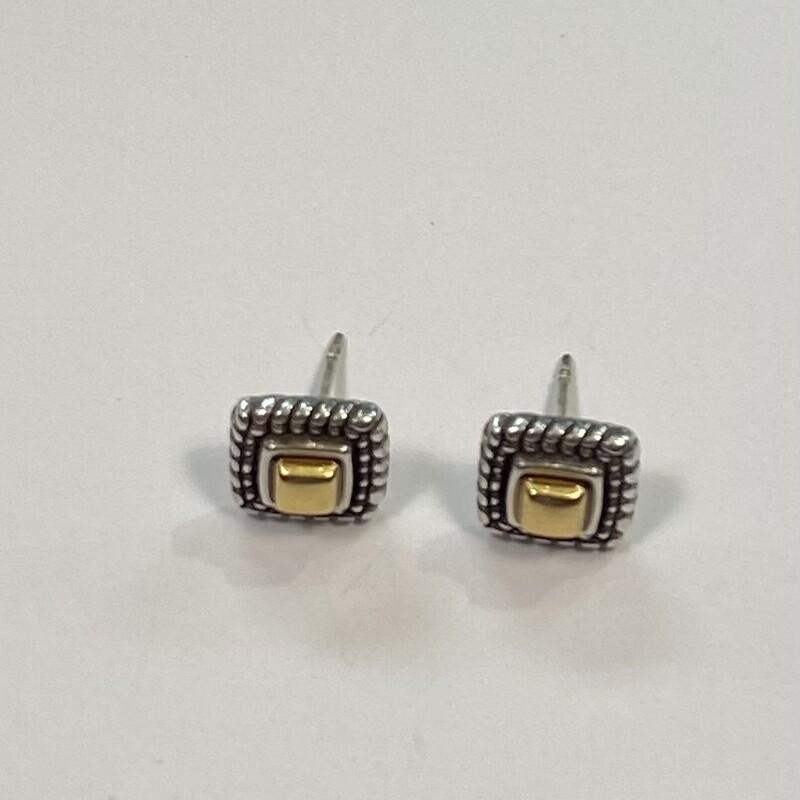 Silv/gld Square Earrings