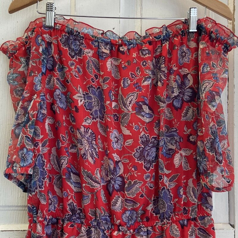 NWT Red/blu Floral Off Sh