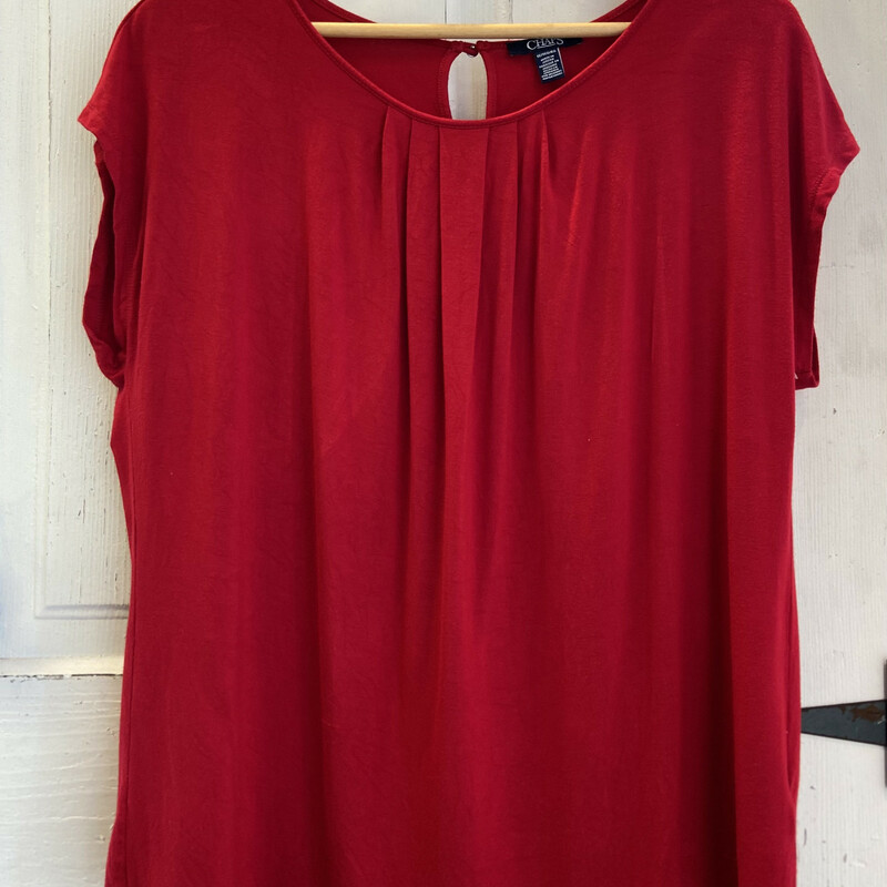 Red Pleated Tee