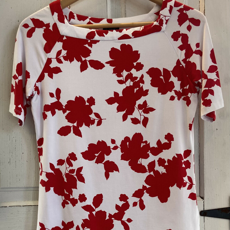 Wht/red Floral Top