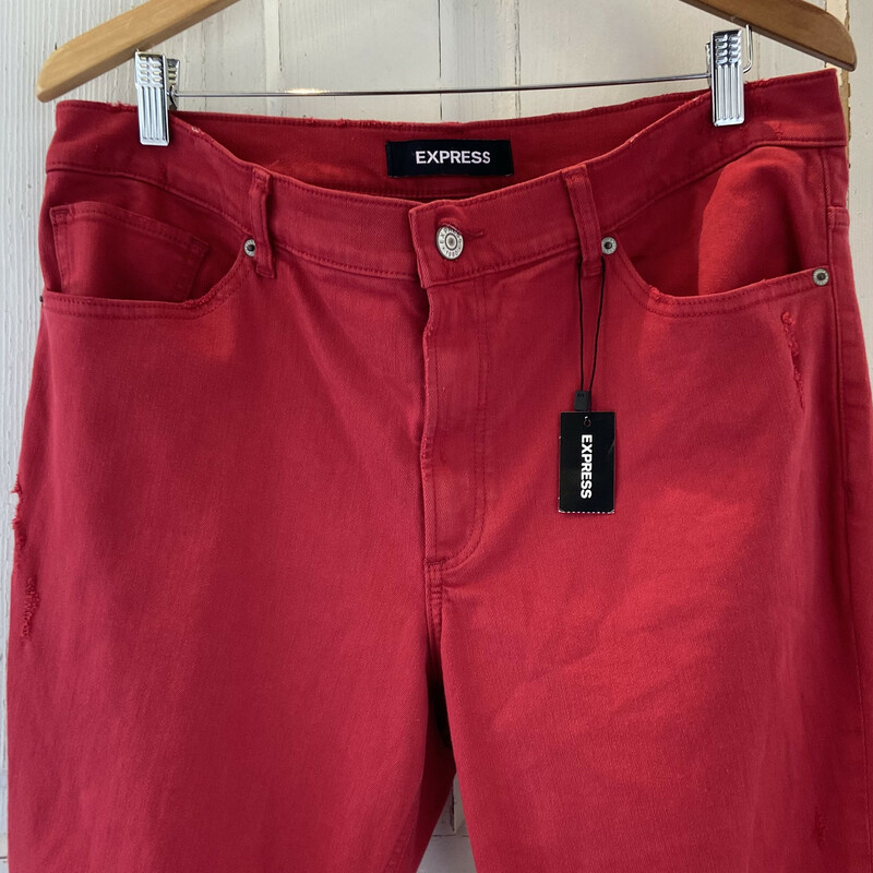 NWT Red Distressed Jean