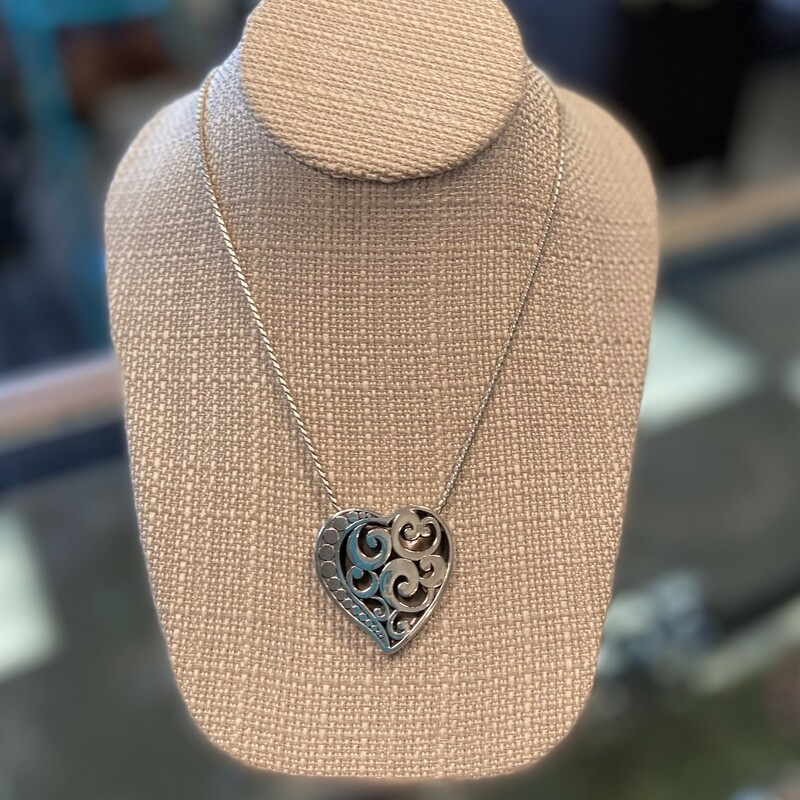 Silver Lg Heart Necklace