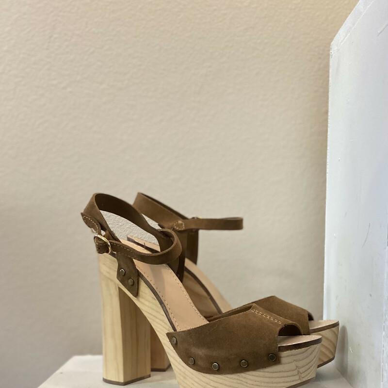 NEW Brw Suede Wood Heel