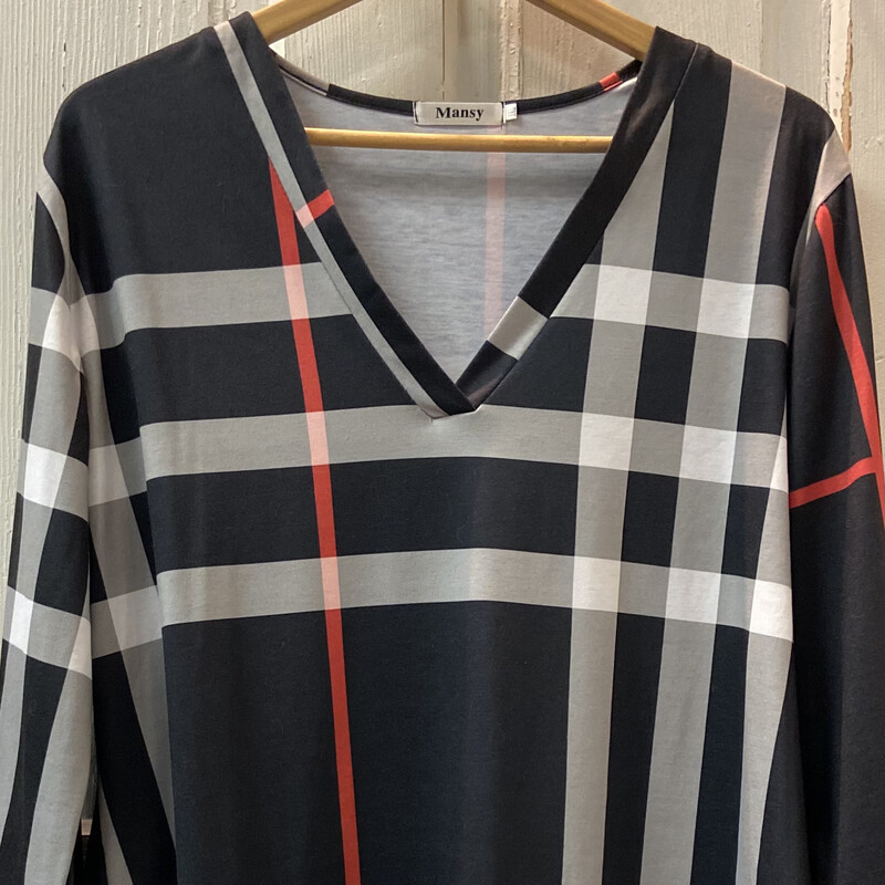 Blk/red Plaid Top