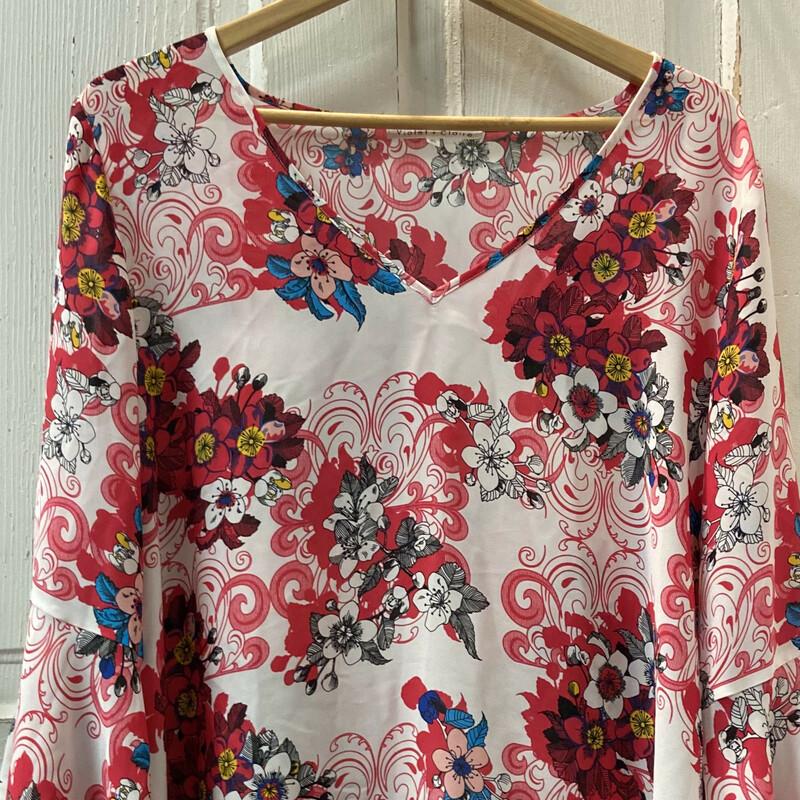 Wht/pnk Floral Drssy Top