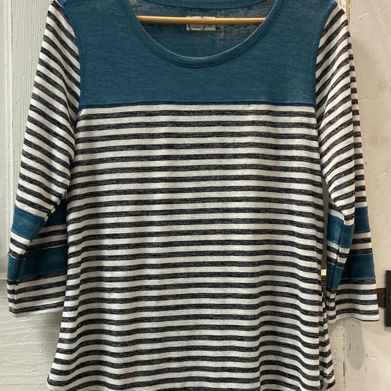 Teal/charcoal Stripe Top