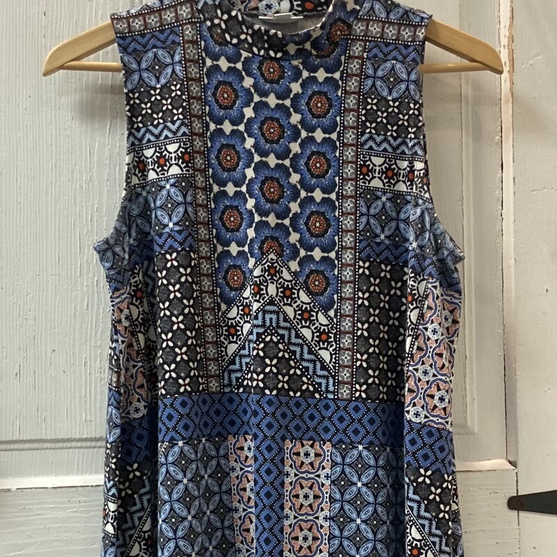 Blu/red Pat Slvless Dress