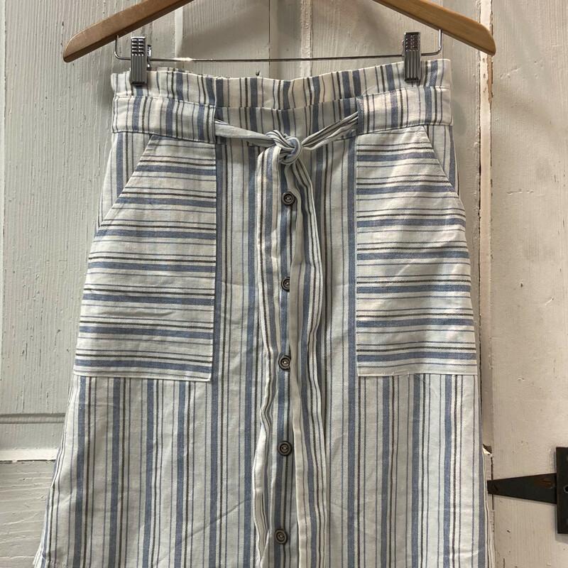 Blu/wht Strp Button Skirt