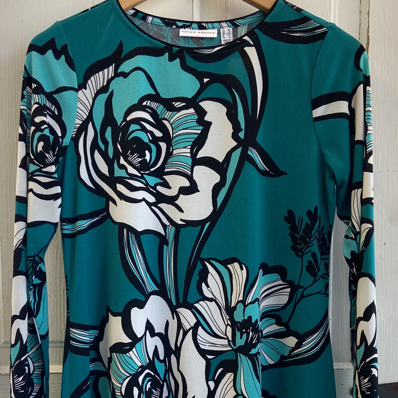 Teal/wht Floral Drssy Top