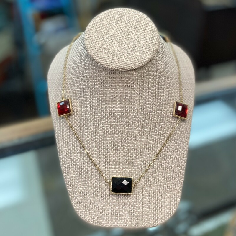 Gld/red/blk Jewel Necklac