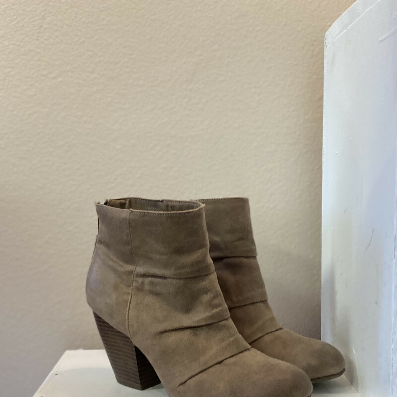 Tan Gathered Bootie