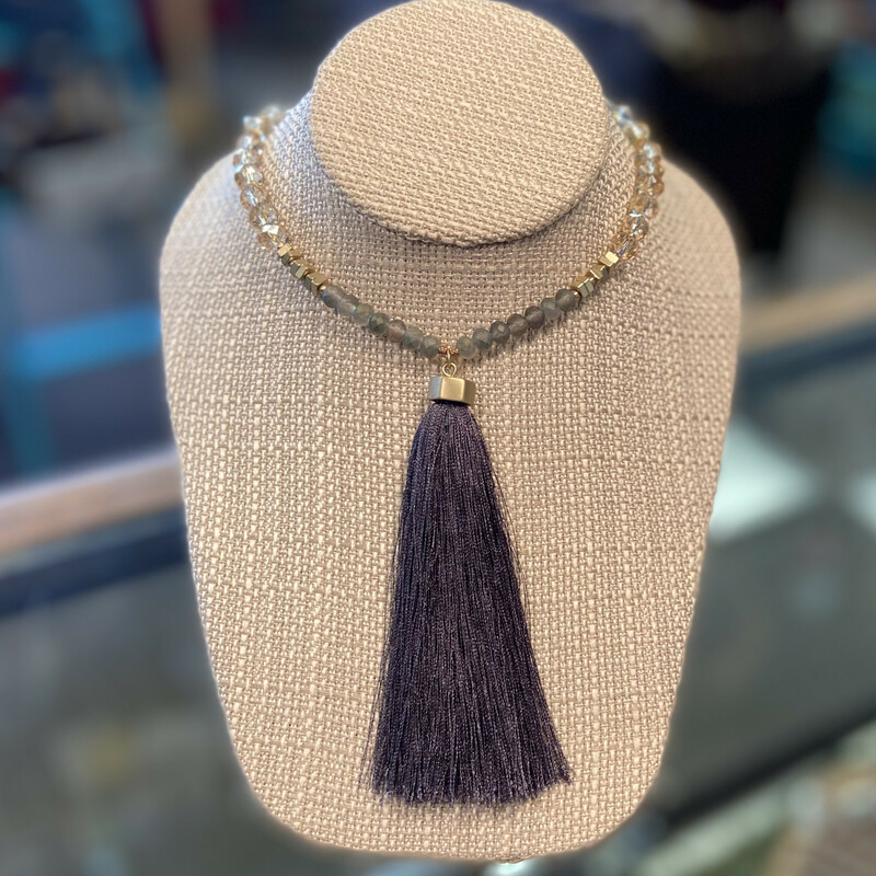 Gld/clear/bead Blu Tassle