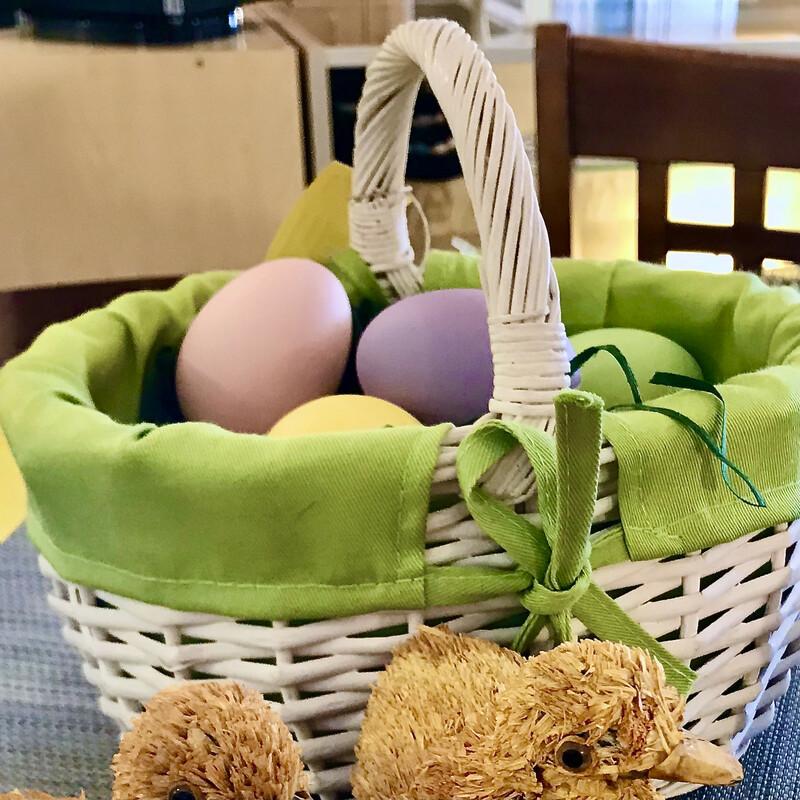 Basket Of Porcelain Eggs