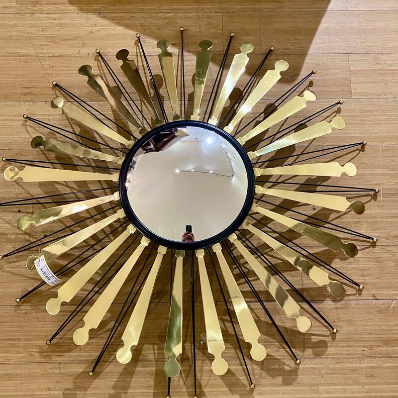 """Brass Starburst Mirror made in India Size: 40\"""" D"""
