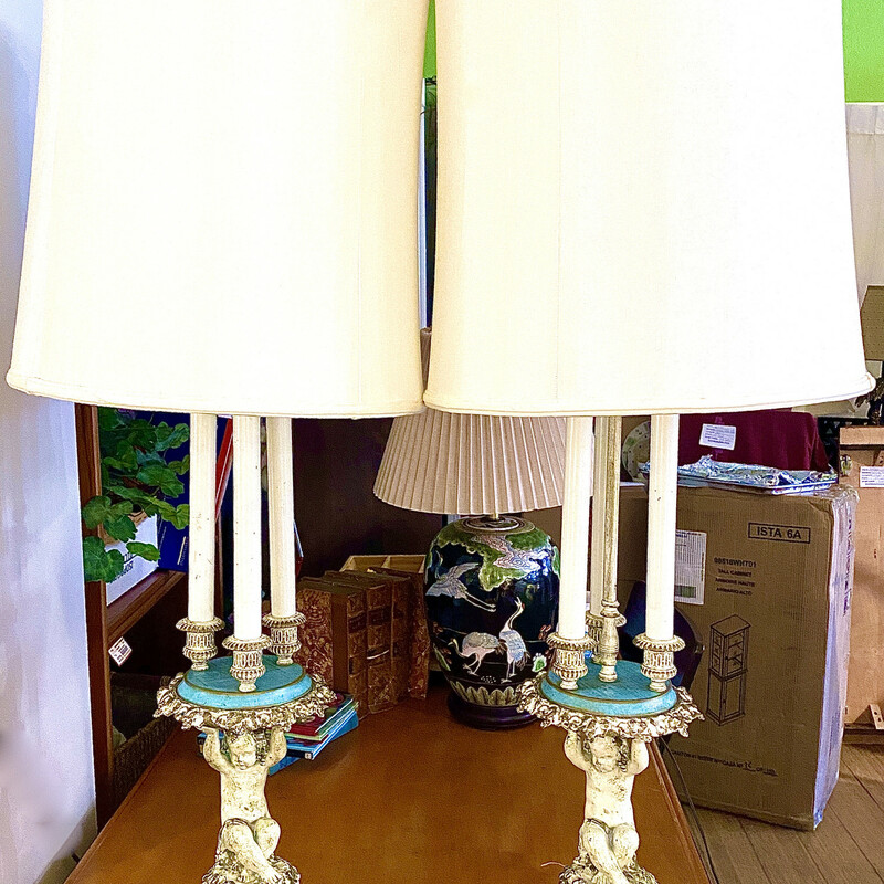 """Antique French Table Lamp Size: 39\"""" H Second one available Item #87673"""