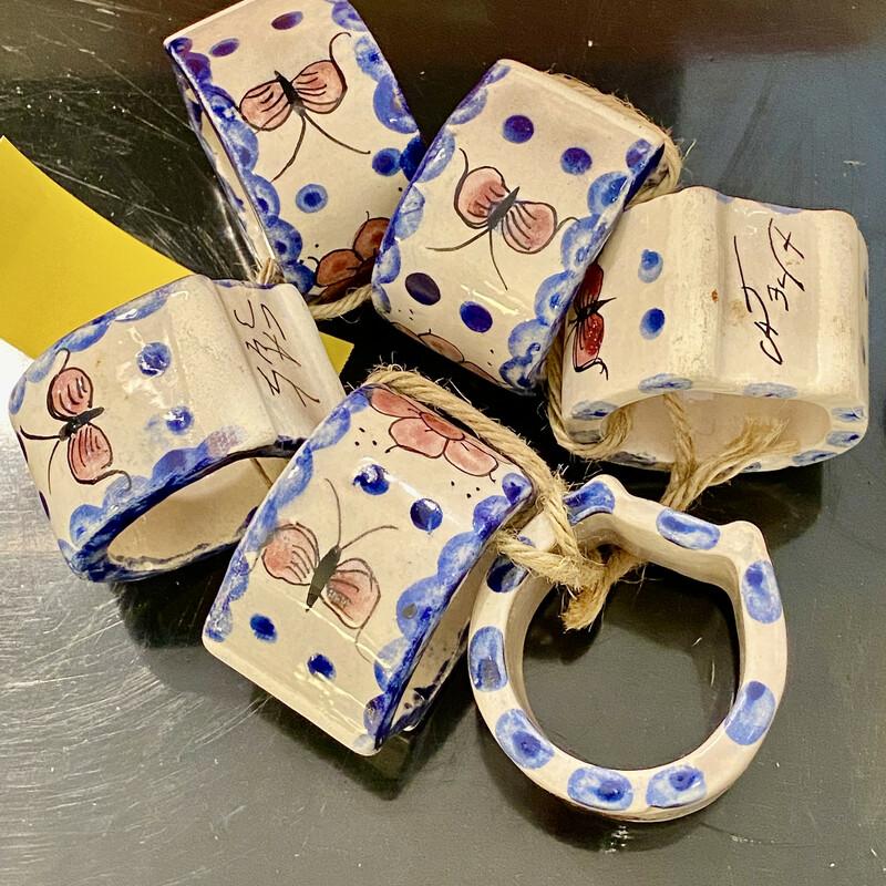 Signed Ceramic Cat Napkin Rings Size: Set Of 6