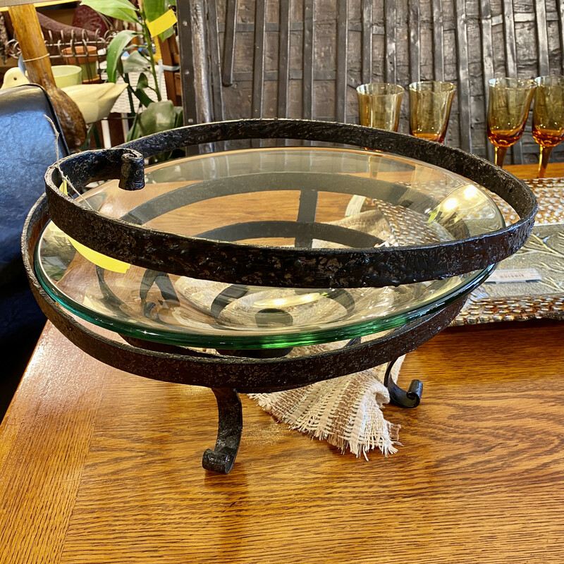 Gorgeous Bowl in Spiral Metal Stand Size: 18Rx11H