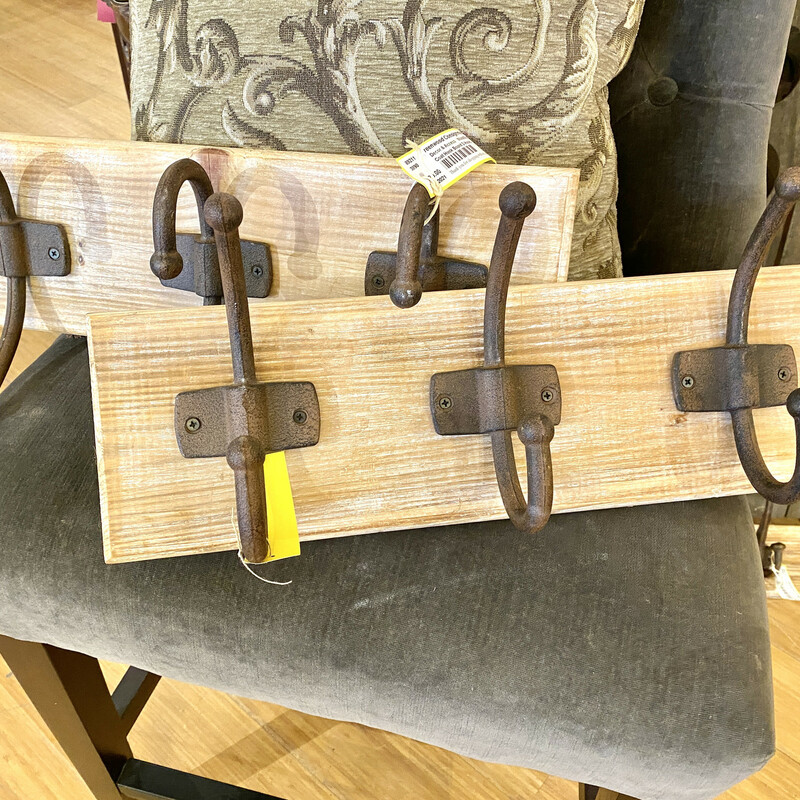 """Rustic 3 hook Coat Hanger Size: 19\""""L  Second one available Item #89212"""